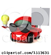 Poster, Art Print Of 3d Red Car Holding A Light Bulb On A White Background