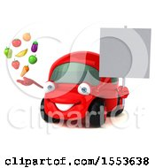 3d Red Car Holding Produce On A White Background