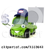 Poster, Art Print Of 3d Little Green Car Mechanic Holding A Dollar Sign On A White Background