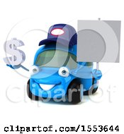 Poster, Art Print Of 3d Little Blue Car Mechanic Holding A Dollar Sign On A White Background