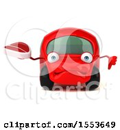 3d Red Car Holding A Steak On A White Background