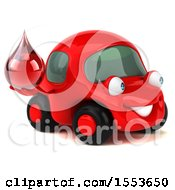 Clipart Of A 3d Red Car Holding A Blood Drop On A White Background Royalty Free Illustration