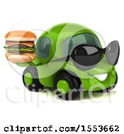 3d Green Car Holding A Burger On A White Background