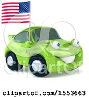 Poster, Art Print Of 3d Green Porsche Car Holding An American Flag On A White Background