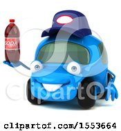Poster, Art Print Of 3d Little Blue Car Mechanic Holding A Soda On A White Background