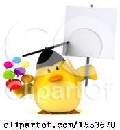 3d Yellow Bird Graduate Holding Messages On A White Background