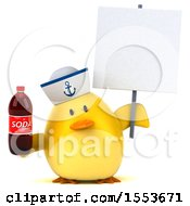 Clipart Of A 3d Yellow Bird Sailor Holding A Soda On A White Background Royalty Free Illustration