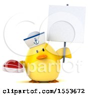 3d Yellow Bird Sailor Holding A Steak On A White Background