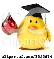 Clipart Of A 3d Yellow Bird Graduate Holding A Blood Drop On A White Background Royalty Free Illustration