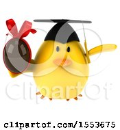 Clipart Of A 3d Yellow Bird Graduate Holding A Chocolate Egg On A White Background Royalty Free Illustration