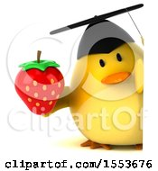 Clipart Of A 3d Yellow Bird Graduate Holding A Strawberry On A White Background Royalty Free Illustration