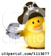 Poster, Art Print Of 3d Yellow Bird Pirate Holding A Euro On A White Background
