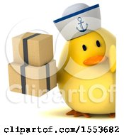 Clipart Of A 3d Yellow Bird Sailor Holding Boxes On A White Background Royalty Free Illustration