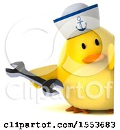 Clipart Of A 3d Yellow Bird Sailor Holding A Wrench On A White Background Royalty Free Illustration