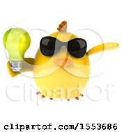 3d Yellow Bird Holding A Light Bulb On A White Background