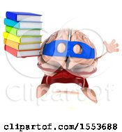 3d Super Brain Character Hodling Books On A White Background