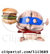 3d Super Brain Character Hodling A Burger On A White Background