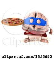 3d Super Brain Character Hodling A Pizza On A White Background
