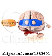 3d Super Brain Character Hodling A Hot Dog On A White Background