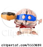3d Super Brain Character Hodling A Donut On A White Background