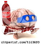 3d Super Brain Character Hodling A Soda On A White Background