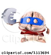 3d Super Brain Character Hodling A Euro On A White Background