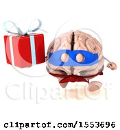 3d Super Brain Character Hodling A Gift On A White Background
