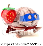 3d Super Brain Character Hodling A Strawberry On A White Background