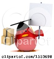 Clipart Of A 3d Chubby Red Bird Graduate Holding Boxes On A White Background Royalty Free Illustration