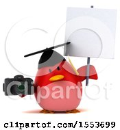 Clipart Of A 3d Chubby Red Bird Graduate Holding A Camera On A White Background Royalty Free Illustration