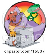 Handy Cavewoman Chiseling A Rock While A Big T Rex Eyes Her From Behind A Mountain Clipart Illustration