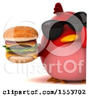 3d Chubby Red Bird Holding A Burger On A White Background