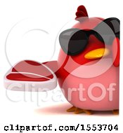 3d Chubby Red Bird Holding A Steak On A White Background