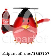 Poster, Art Print Of 3d Chubby Red Bird Graduate Holding A Soda On A White Background