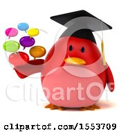 3d Chubby Red Bird Graduate Holding Messages On A White Background