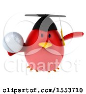 3d Chubby Red Bird Graduate Holding A Golf Ball On A White Background