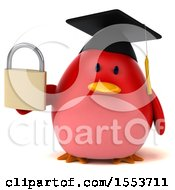 Clipart Of A 3d Chubby Red Bird Graduate Holding A Padlock On A White Background Royalty Free Illustration