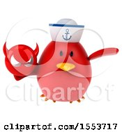Clipart Of A 3d Chubby Red Bird Sailor Holding A Devil On A White Background Royalty Free Illustration