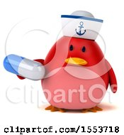 Clipart Of A 3d Chubby Red Bird Sailor Holding A Pill On A White Background Royalty Free Illustration