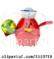 Clipart Of A 3d Chubby Red Bird Sailor Holding A Globe On A White Background Royalty Free Illustration