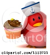 Clipart Of A 3d Chubby Red Bird Sailor Holding A Cupcake On A White Background Royalty Free Illustration