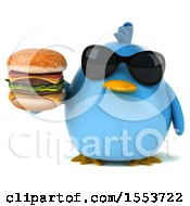 3d Chubby Blue Bird Holding A Burger On A White Background