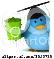 Clipart Of A 3d Chubby Blue Bird Graduate Holding A Recycle Bin On A White Background Royalty Free Illustration
