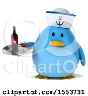 Clipart Of A 3d Chubby Blue Bird Sailor Holding Wine On A White Background Royalty Free Illustration