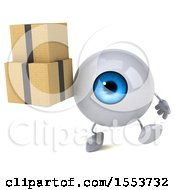 3d Blue Eyeball Character Holding Boxes On A White Background