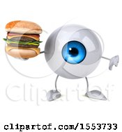 3d Blue Eyeball Character Holding A Burger On A White Background