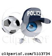 3d Blue Police Eyeball Character Holding A Soccer Ball On A White Background