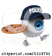 3d Blue Police Eyeball Character Holding A Pizza On A White Background