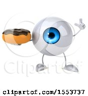 3d Blue Eyeball Character Holding A Donut On A White Background