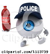 Poster, Art Print Of 3d Blue Police Eyeball Character Holding A Soda On A White Background